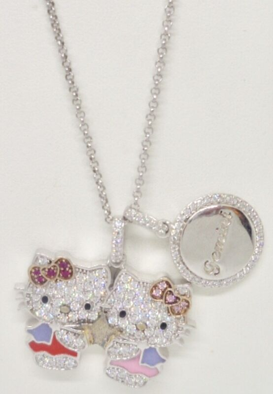 Sanrio Hello Kitty Sterling Silver Pave CZ Enamel Gemini Pendant Necklace NWOT