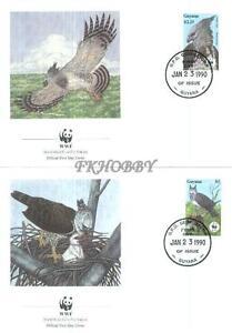 Guyana 1990 Mi FDC 3077-80 WWF Animals Zwierzęta Birds Vögel Ptaki Eagle Harpyie - Dabrowa, Polska - Guyana 1990 Mi FDC 3077-80 WWF Animals Zwierzęta Birds Vögel Ptaki Eagle Harpyie - Dabrowa, Polska