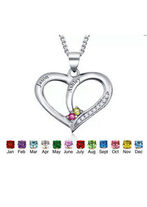 Personalised Engraved Birthstone Silver Necklace Knoxfield Knox Area Preview