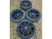 "17"" 4x108 Ford Fiesta Ecoboost Gunmetal Black Alloy Wheels With Tyres Zetec St 2"