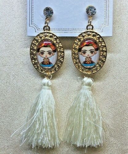 Frida Kahlo With Tassel White Fashion Earrings