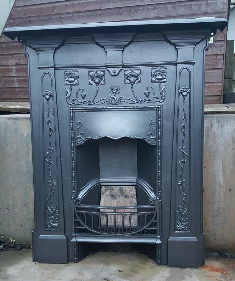 Original Art Nouveau Cast Iron Bedroom Fireplace