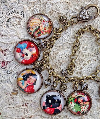 VINTAGE VALENTINES Altered Art GLASS DOME CHARM BRACELET From VINTAGE CARDS