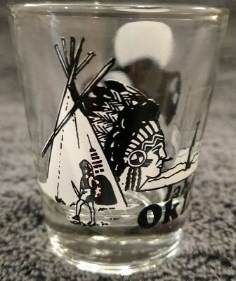 MINT STATE OF OKLAHOMA NATIVE TEEPEE BISON WHITE BLACK PAINTED 1 OZ SHOT GLASS](1 Oz Shot Glass)