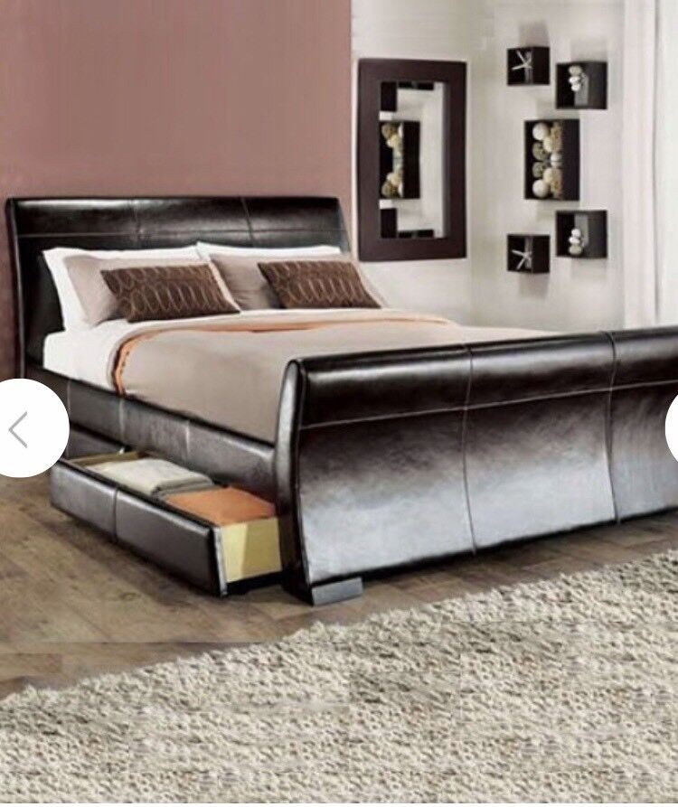 King size leather bed.