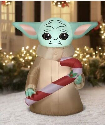 NEW Christmas Mandalorian Baby Yoda With Candy Cane Inflatable Yard Decoration