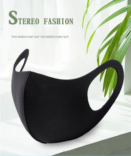 5 pcs Slim Fashion Washable Cotton Cloth Masks Half Face Mouth Cover Adult Black