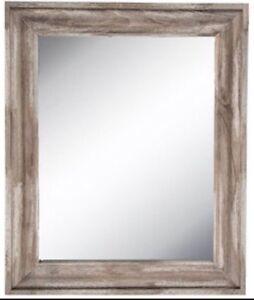 Big Rustic Farmhouse Reclaimed wood Driftwood Beveled Wall Mirror 35