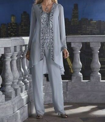 Mother Bride Groom Women's Wedding beaded dress 3PC duster pant suit plus 2X 3X