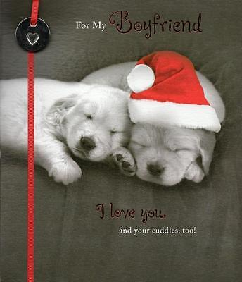 For My Boyfriend Cute Christmas Greeting Card Talk To The Paw Xmas Cards ()