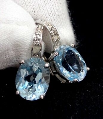 "Aquamarine & Diamond Earrings .925 Sterling Silver .70"" Tall"