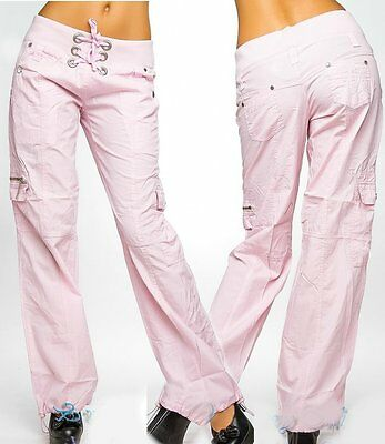 Sexy Miss Ladies Girly Cargo Summer Fabric Pants Lacing 34 36 38 40 New Pink](Combat Boots Girly)