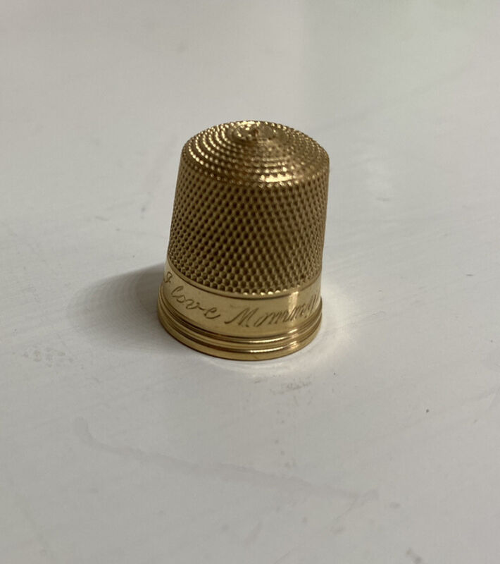 14k Yellow Gold Simon Brothers Thimble Engraved I Love Mommy Lot