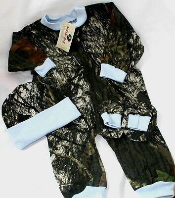Mossy Oak Camouflage Blue Baby Sleeper Booties Hat Set - Boy (Camouflage Sleeper)