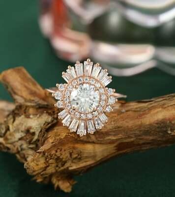 2 CT 14K Rose Gold Over Round White Moissanite Vintage Flower Style Wedding Ring Moissanite Vintage Ring