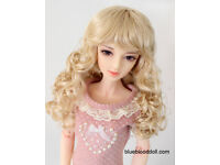 """1//3 bjd 8-9/"""" doll head natural black long wig dollfie Luts Iplehouse W-JD078SM2L"""