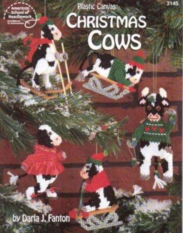 NEW PLASTIC CANVAS CHRISTMAS COWS ORNAMENTS/MORE!!!
