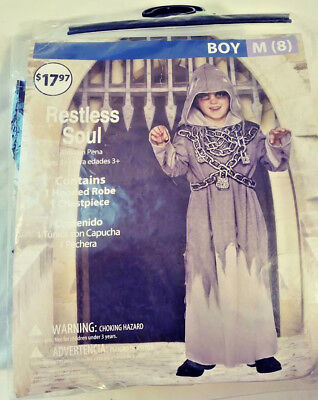 RESTLESS SOUL HALLOWEEN COSTUME BOY MEDIUM (8)AGES 3+ HOODED ROBE + CHESTPIECE