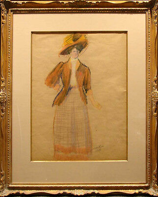 Pissarro Ludovic Rodo Woman with Hat Original Pastel Authentic Custom Framed Art