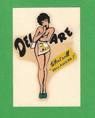 "VINTAGE ORIGINAL 1950 SOUVENIR ""MISS DELAWARE"" PINUP TRAVEL WATER DECAL ART NICE"