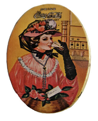 Vintage Coco Cola Tin, Illustrated Lady Drinking From A Glass