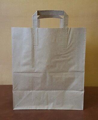 250 x Large Brown Paper Kraft SOS Takeaway Carrier Bags!