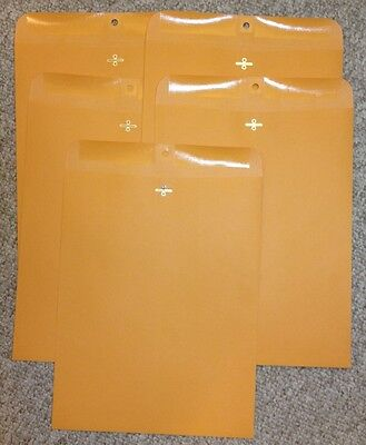 Five 5 Kraft Manila Envelopes 12 X 15.5 Shipping Catalog Yellow Clasp
