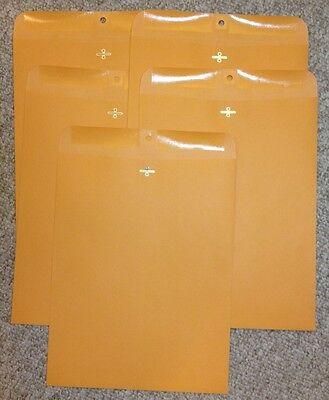 Five 5 Kraft Manila Envelopes 12 X 15.5 Shipping Catalog Yellow Clasp