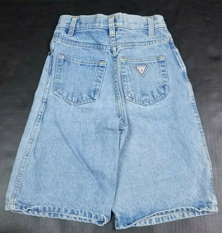 Vtg GUESS USA Kids 90s Stonewash Long Denim Jean Shorts Size 10