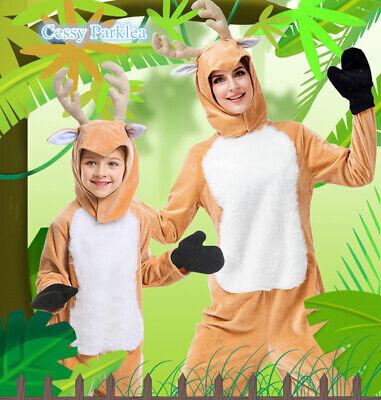 Mens Deer Costume (E3 Boys Girls Mens Womens The Deer Christmas Reindeer Family Book Week)