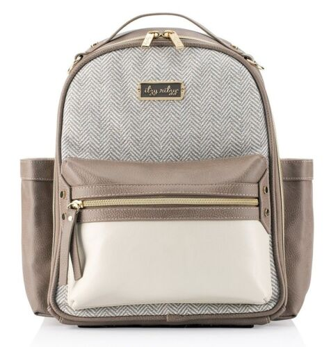 Itzy Ritzy Mini Baby Diaper Bag Backpack Changing Pad Vanilla Latte NEW