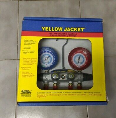 New Yellow Jacket 46090 Brute Ii 4-valve Manifold Only With Boots
