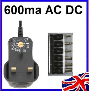 UK 3 PIN UNIVERSAL AC/DC POWER SUPPLY ADAPTOR PLUG 600mA 3v 4.5v 6v 7.5v 9v 12v