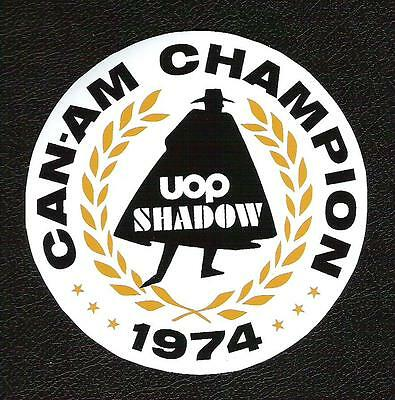 (UOP Shadow Can-Am Champion 1974 Sticker, Vintage Sports Car Racing Decal)