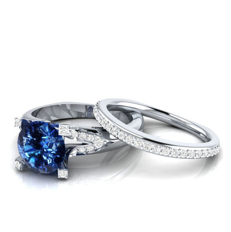 Fashion Women Round Cut Blue Sapphire 925 Silver Engagement Ring Size 8 • CAD