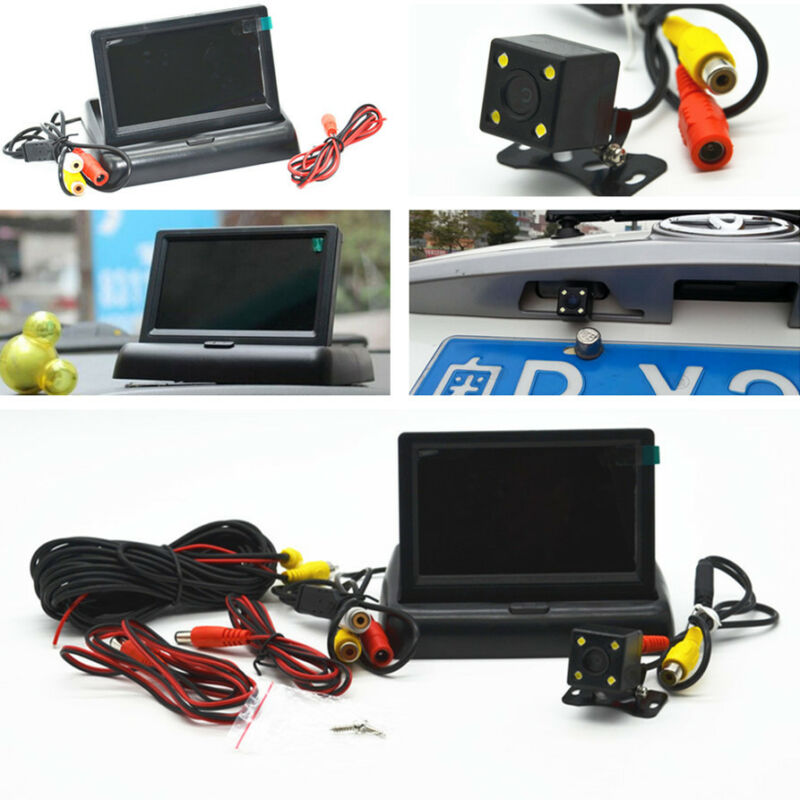 Car 4 LED Night Vision Rear View Camera 4.3
