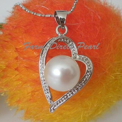 - Huge 10.5mm Genuine White Pearl Pendant Necklace HEART Cultured Freshwater