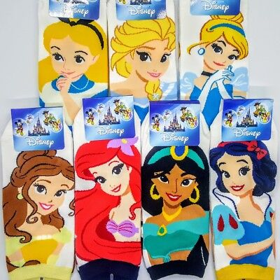 Women Cotton Disney Princess Socks Sneakers Low Cut Ladies Adult Sock Lot 7 Pair