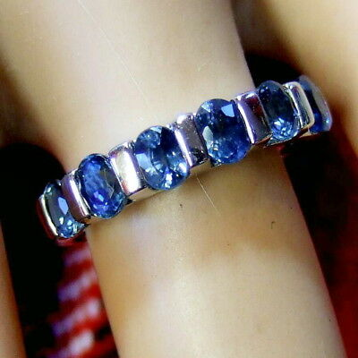 9 ct GOLD second hand blue topaz half eternity ring