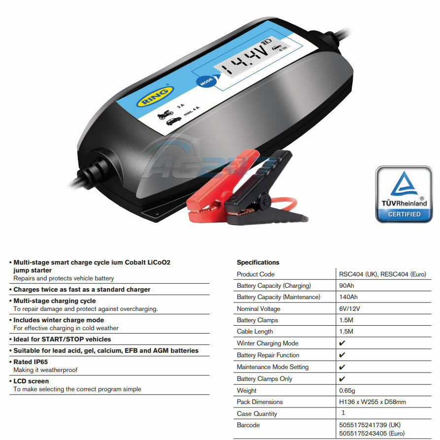 6V Charges Twice as Fast Ring Intelligent Smart Battery Maintenance Charger 12V