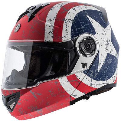 Torc T27 Modular Motorcycle Helmet - Flat White Rebel Star - CHOOSE SIZE - Modular Helmet Flat