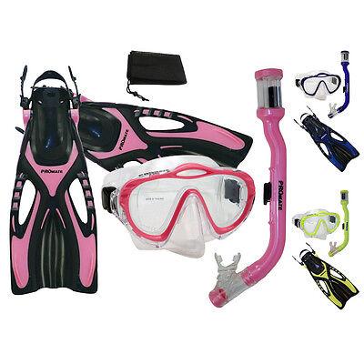 Girl Youth Kids Snorkeling PURGE Mask Snorkel Fins Set - Purge Girls