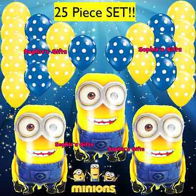25pc Despicable ME Minion Balloon Party Decoration! Minions supplies balloons
