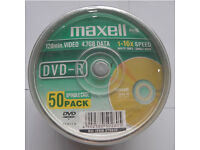 Maxell DVD-R recordable DVD discs (120 min video & 4.7gb data) spindle of 50 - 275610
