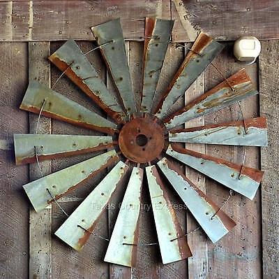 """47"""" Rustic Texas Windmill Head Fan Western Ranch Barn Farmhouse Wall Decor"""