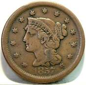 1857 Braided Hair Large Cent