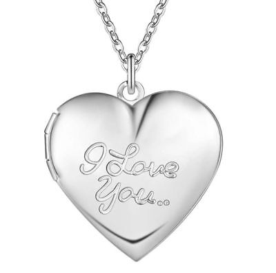 925 Sterling Silver I Love You Heart Locket Photo Box Pendant Link Necklace 20