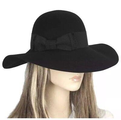 yves saint laurent Rabbit Wide Brim Hat Designer Rare Runway Black 58 Medium