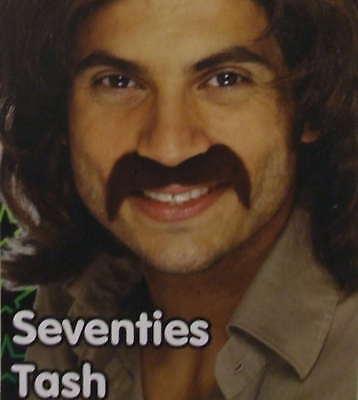 70er Jahre 1970s Kostüm Tash Zum Aufkleben Schnurrbart Braun Neues von (70er Jahre Schnurrbart Kostüm)