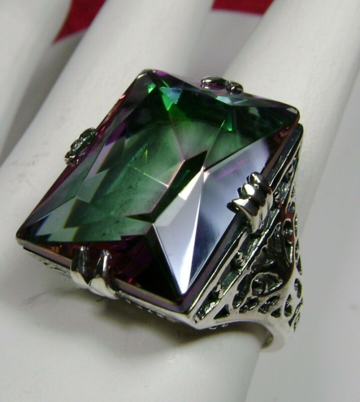 Mystic Topaz Ring, Simulated 30ct Rainbow Gem Sterling Silver [Made To Order]#9